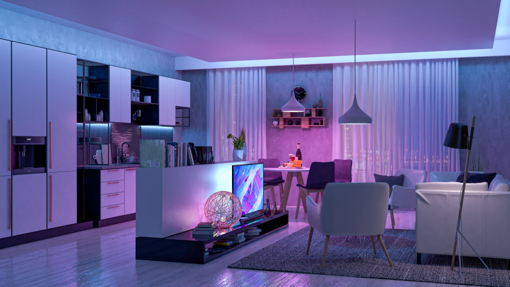 modern living room with colored led lights