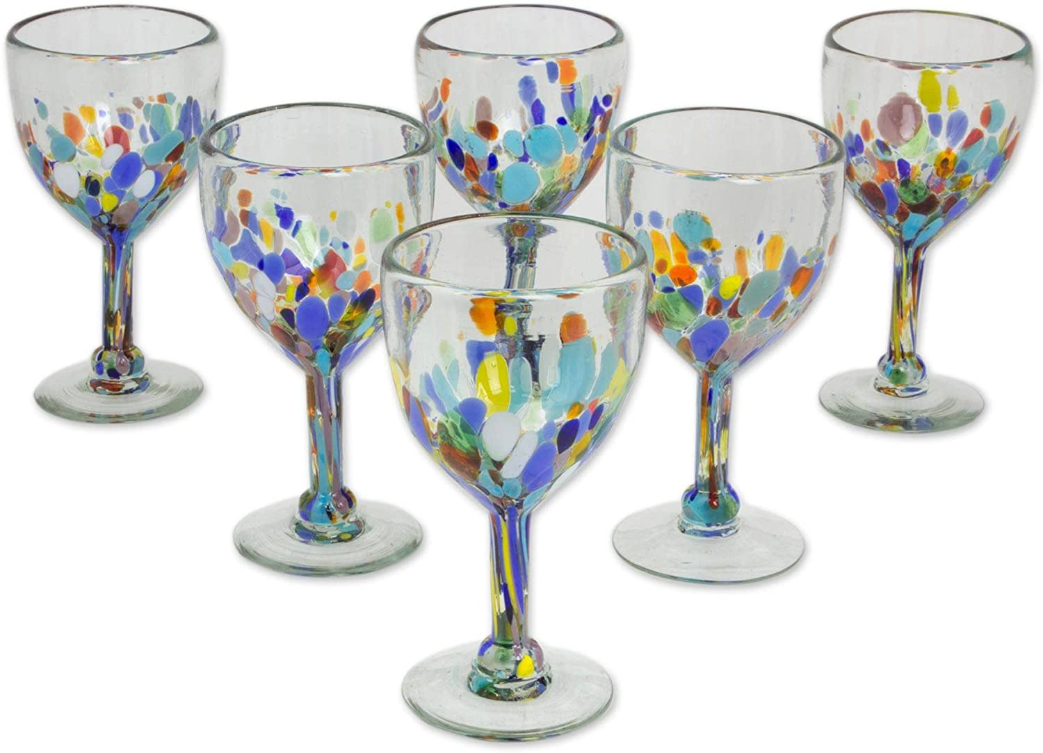 novica hand blown multicolor recycled glass isolated on white background