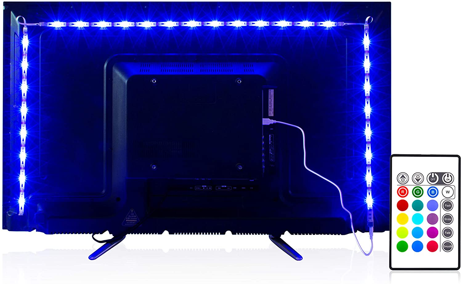 pangton villa led strip lights 6.56ft for 40-60in tv with remote control
