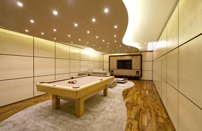 pearly white abyss pool room design idea