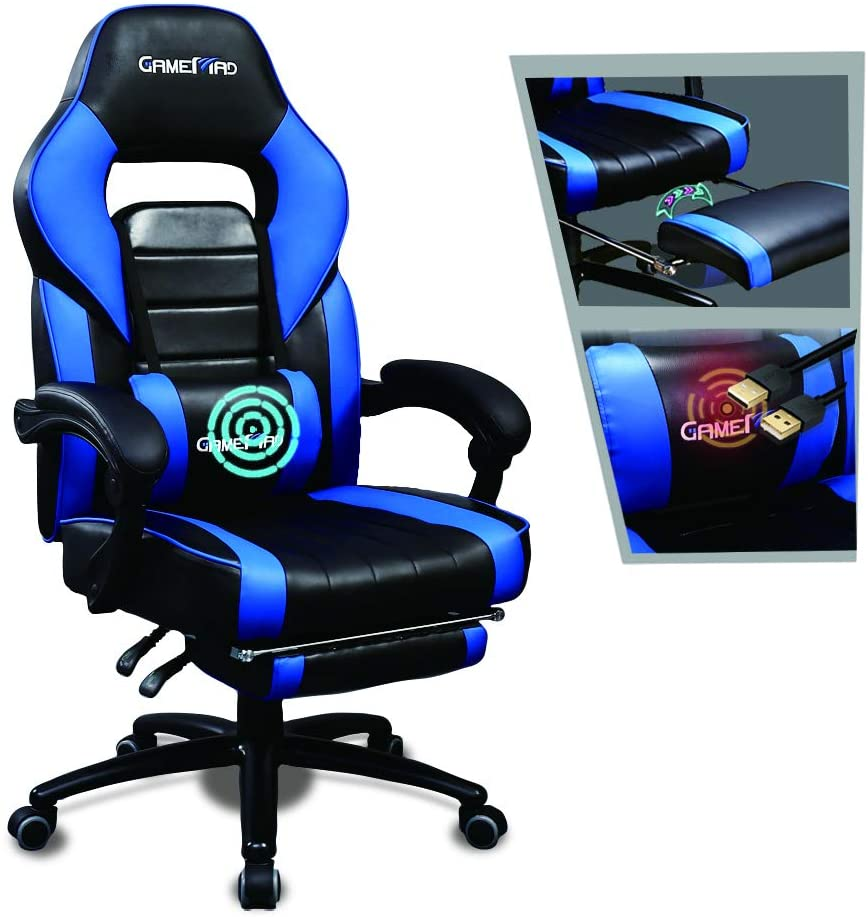 veigar gaming chair with footrest racing recliner, blue and black color