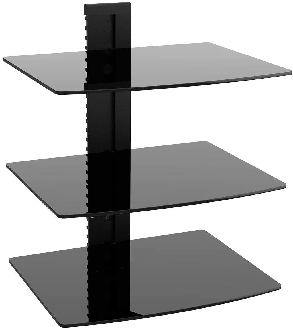 wali cs303b floating wall mounted shelf with strengthened tempered glasses
