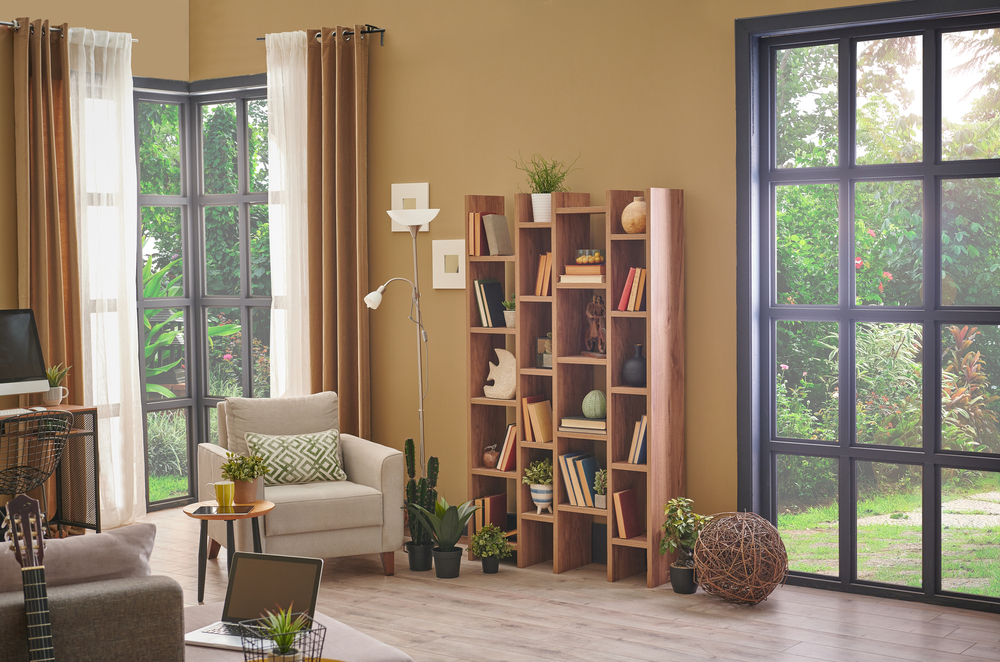 wooden bookshelf and bookcase concept for modern living room