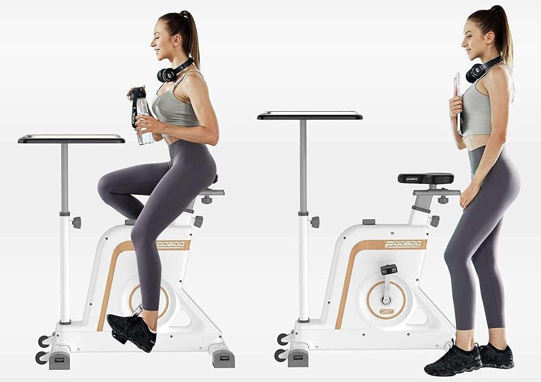 women using afully stationary bike with desk