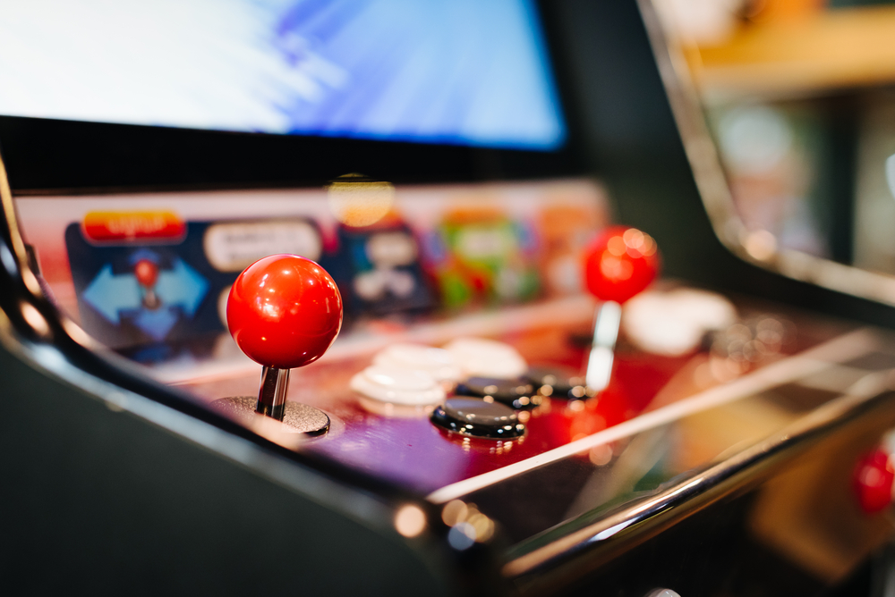 arcade game machine close up