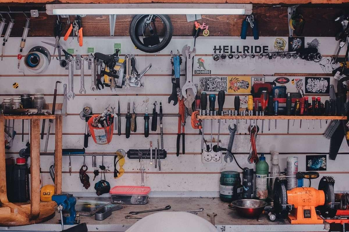 mechanical tools in bike garage workshop