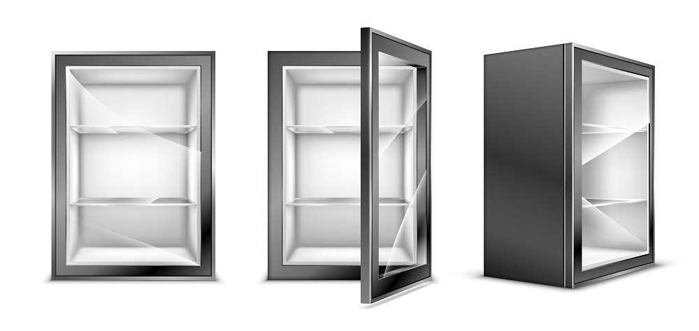 mini fridge with glass door isolated on white background