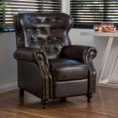 Reclining Club Chair Standing Workstation Best Man Cave Leather Recliners Waldo Brown Recliner
