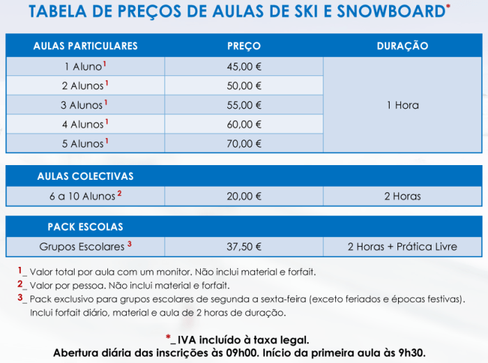 aulas mancha instrutor esqui ski snowboard tabela preços