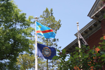 Raising the Congolese flag at City Hall in Manchester, NH.