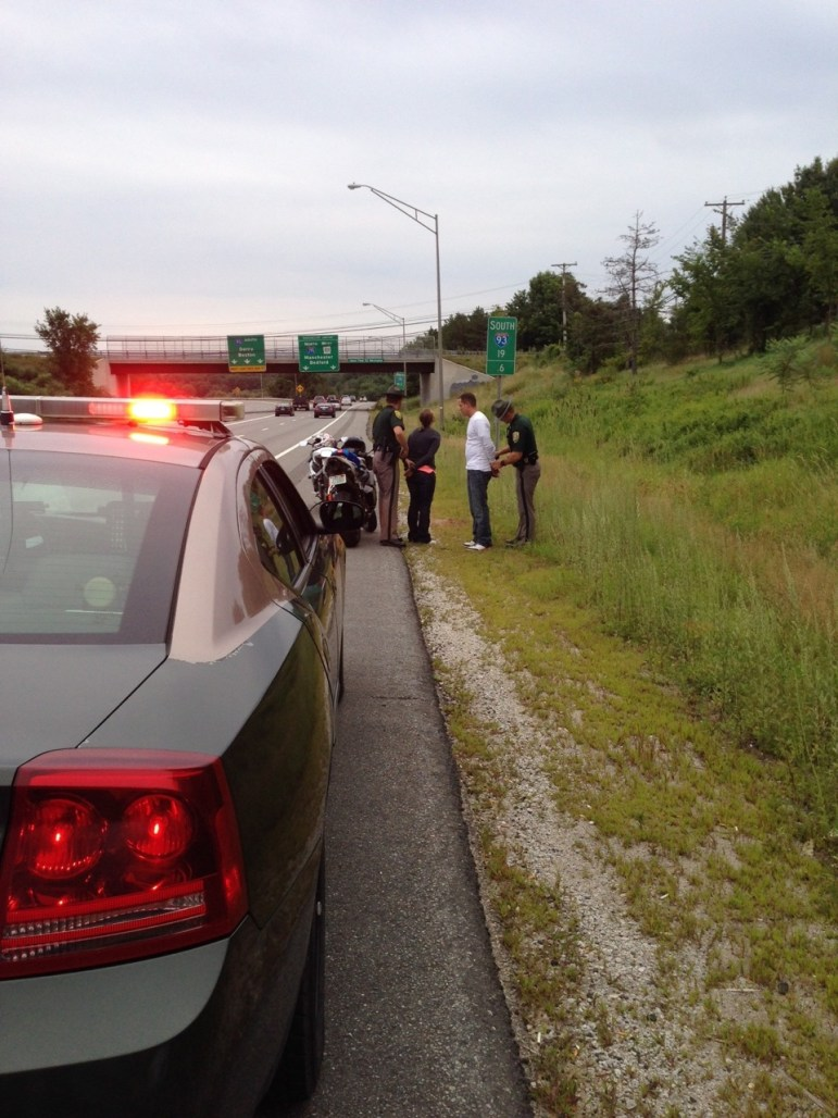 State Police make arrest on 93 South in Manchester.