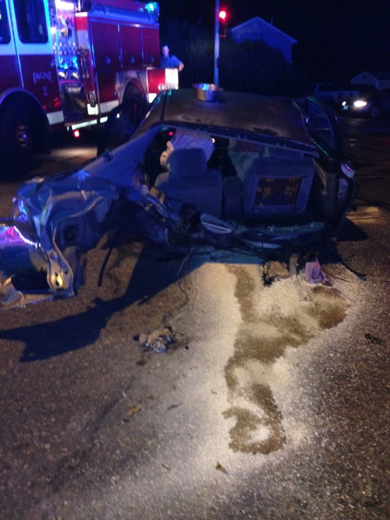 Wreckage from crash after vehicle was stolen from Manchester.