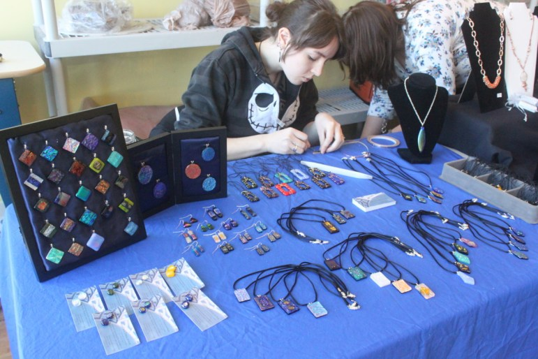 Theresa Caulkins, Glass Artist at the 2013 Holiday Market.