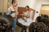 "Misty Copeland, far right, of the American Ballet Theatre and a few of her colleagues, including Catherine Hurlin, at left, were performing this weekend with the New England Dance Ensemble's sold-out performances of ""The Nutcracker,"" at Windham High School. Copeland and her colleagues participated in the dress rehearsal on Friday evening and talked with the dancers every chance they got. Photo by Allegra Boverman"