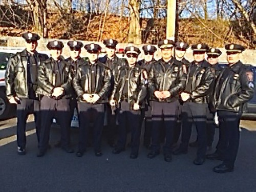 Manchester Police officers in New York City Dec. 27 for funeral of NYPD officer shot and killed last week.