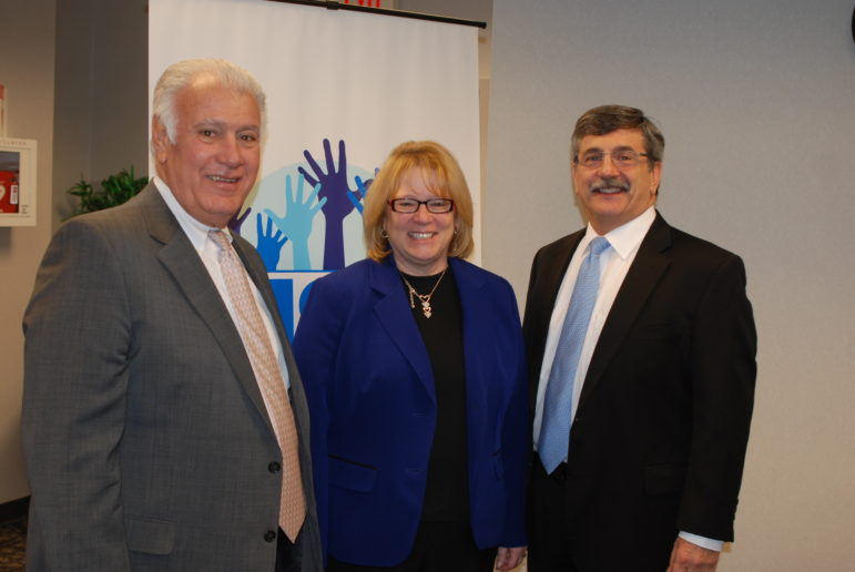 Mayor Ted Gatsas,school superintendent Debra Livingston and Ray McNulty of SNHU at the Jan. 6 kick-off for 1,000 mentors program.