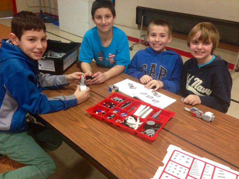 A team building at Jewett Street Elementary School to kick off the FIRST STEAM Ahead program.