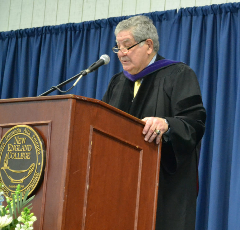Sen. Lou D'Allesandro speaking at New England College Founder's Day celebration, where he was honored for his longtime service to NH.