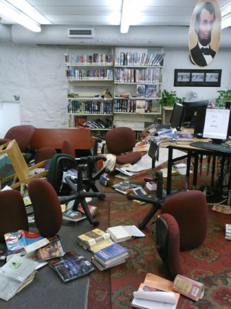 Damage to the West Library due to a burst pipe.