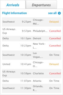 Many flights were delayed and canceled Monday night at Manchester-Boston Regional Airport.