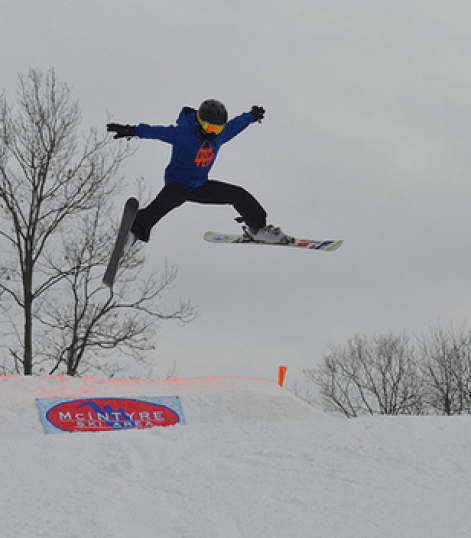 Big air on the slopes at McIntyre Ski Area.