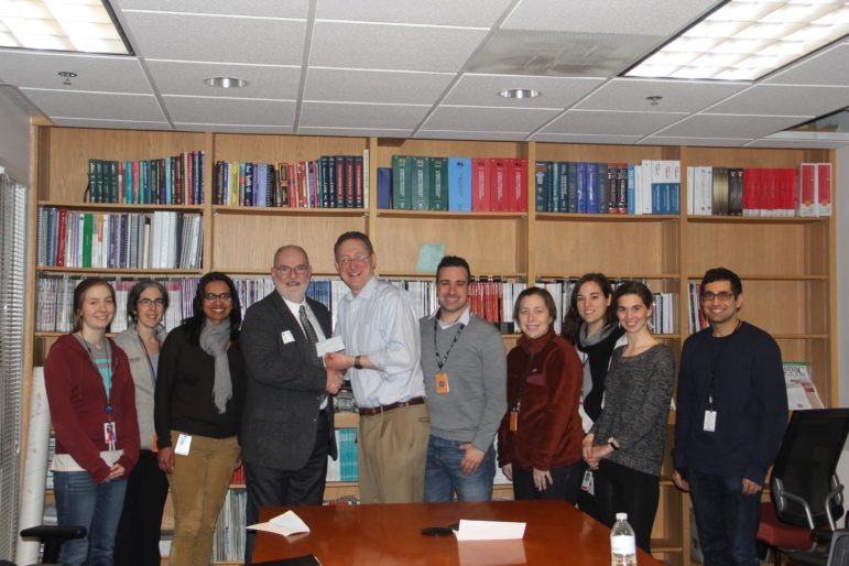 Second Wind Foundation for Pulmonary Fibrosis President Ron Geoffroy and Dr. Andrew Tager, center. Other's pictured: Katharine Black, MD, Rachel Knipe, MD, David Lagares, MD, Neil Ahluwalia, MD, Flavia Castelino, MD, Veronica Pace, MD, Paula Grasberger, MD