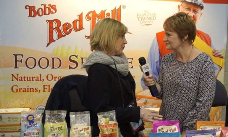 Carolyn Choate in work mode, interviewing Cathy Nehl of Bob's Red Mill.