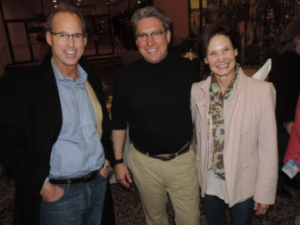 Mark Stebbins (l) and Sally Stebbins (r ), owners of ProCon Incorporated, major sponsors of the first annual CFS SLEEPOUT, join Child and Family Services' CEO, Borja Alvarez de Toledo, at the event's fellowship gathering, which served as a prelude to the long, cold night ahead.