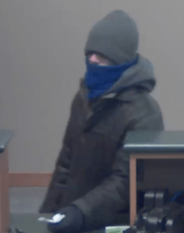 Bank surveillance photo of bank robber.