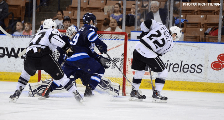 Brian O'Neill scores both goals for the win for Manchester Monarchs.