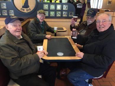 Clockwise from left, Bob Freeman, Paul Plante, Bill Kuslaka and John Milne, enjoying free coffee at McDonald's.