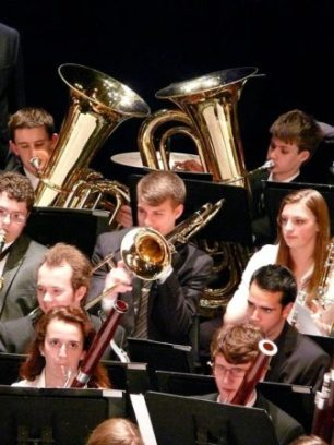 Ryan Gamblin, Alto Sax (front) and Conor Powers, trombone, both Central HS students, perform in All-State Music Festival 2014.