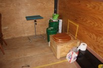 A composting toilet is energy efficient and does the job.
