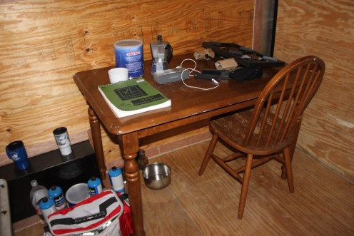 A desk and chair, and other furnishings, will eventually be donated to the Liberty House, once the experiment is over.