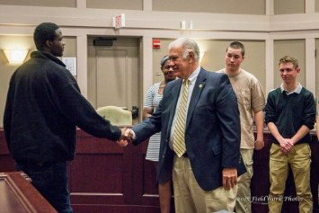 Mayor Ted Gatsas congratulated recent Youth Leadership Academy graduates at City Hall.