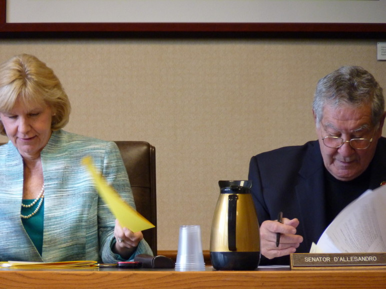 Senate Finance Committee Chair Jeanie Forrester, R-Meredith) and Sen. Lou D'Allesandro, D-Manchester, during a 2014 legislative meeting.