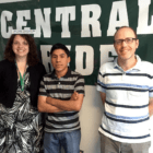Ruben, center, with ELO coordinator Angela Bourassa and guidance counselor Bill Cannon.