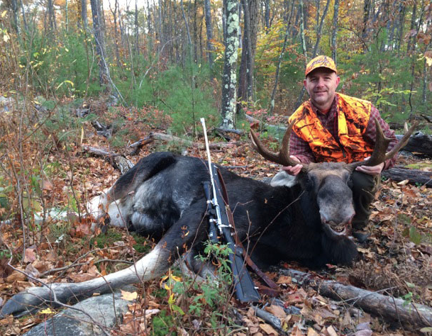 John Cunningham of Raymond harvested this 510 pound Bull Moose with a 35 1/2 inch spread, in Unit L on Sunday October 19, 2014.