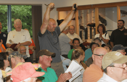 Nathaniel Jones of Northfield reacts to his name being called as a Moose Lottery winner.