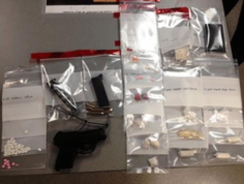 Items seized following arrest.