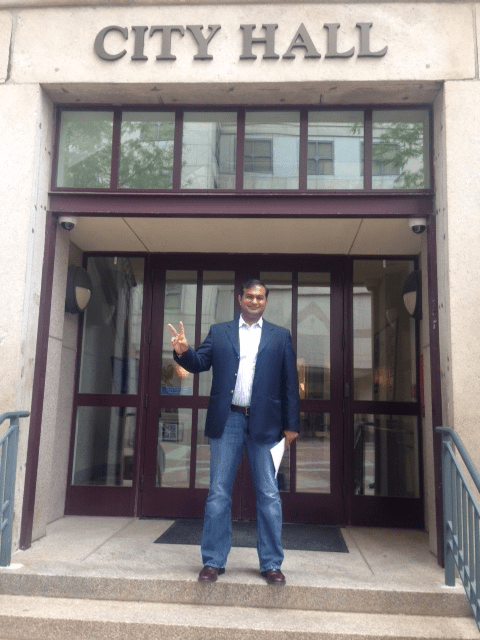 Jawed Alibaba Sheikh, a candidate for mayor, after filing his paperwork at City Hall in Manchester for the 2015 municipal election.