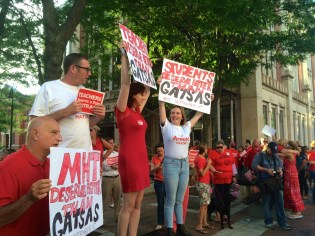 Students protest Mayor Gatsas in his decision to veto the proposed teacher contract.