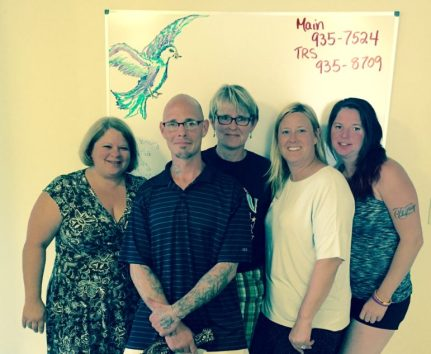 Surrounded by Hope: From left, Holly Cekula, Frenchy, Karla Gallagher, Melissa Fortin-Crews and Lisa Noonan.