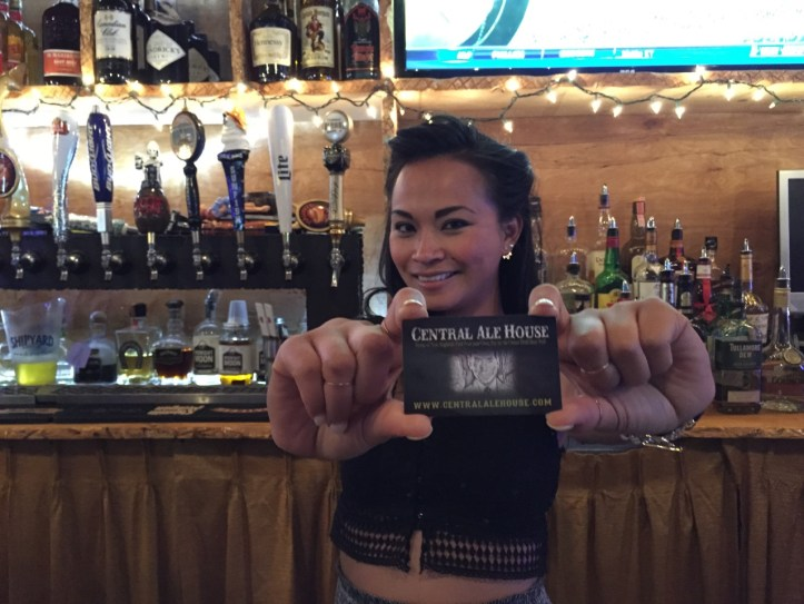 Bar manager Sophea Yay with a Central Ale House  membership card.