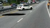 Sinkhole on I-93.