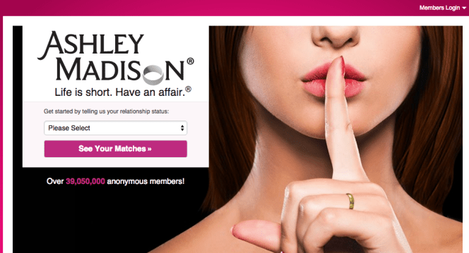 Ashley Madison home page.