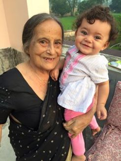 Baby Uma with her grandmother.