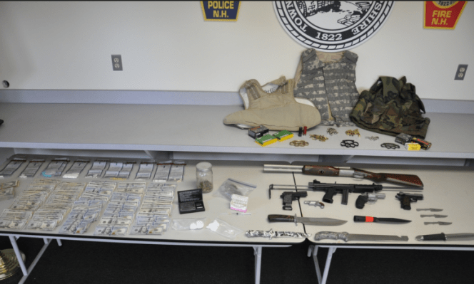 Items confiscated during an execution of a search warrant at the residence of Rosaire Gauthier in 2014.