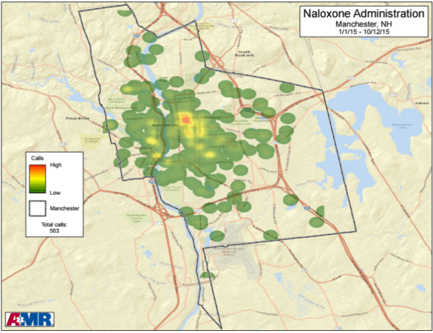 Heat map where Narcan has been administered. Each green dot represents 12 doses, said Chris Hickey of Manchester Fire Department.