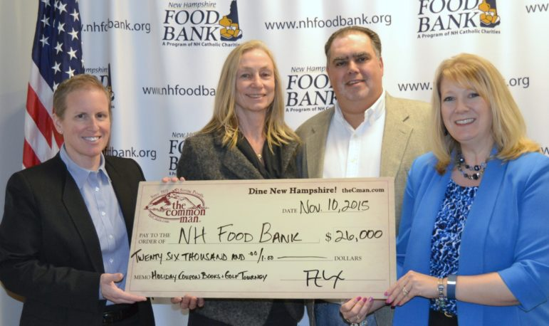 Mel Gosselin, executive director of The New Hampshire Food Bank, accepts a $26,000 donation from The Common Man Vice President Diane Downing, The Common Man Chief Operations Officer Vincent Vella, and Erica Auciello Murphy, director of communications and community relations for The Common Man family. Funds were raised through the sale of Common Man holiday coupon books and an invitational golf tournament.